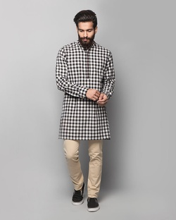 Chandni Chowk Kurta - Black & white checks
