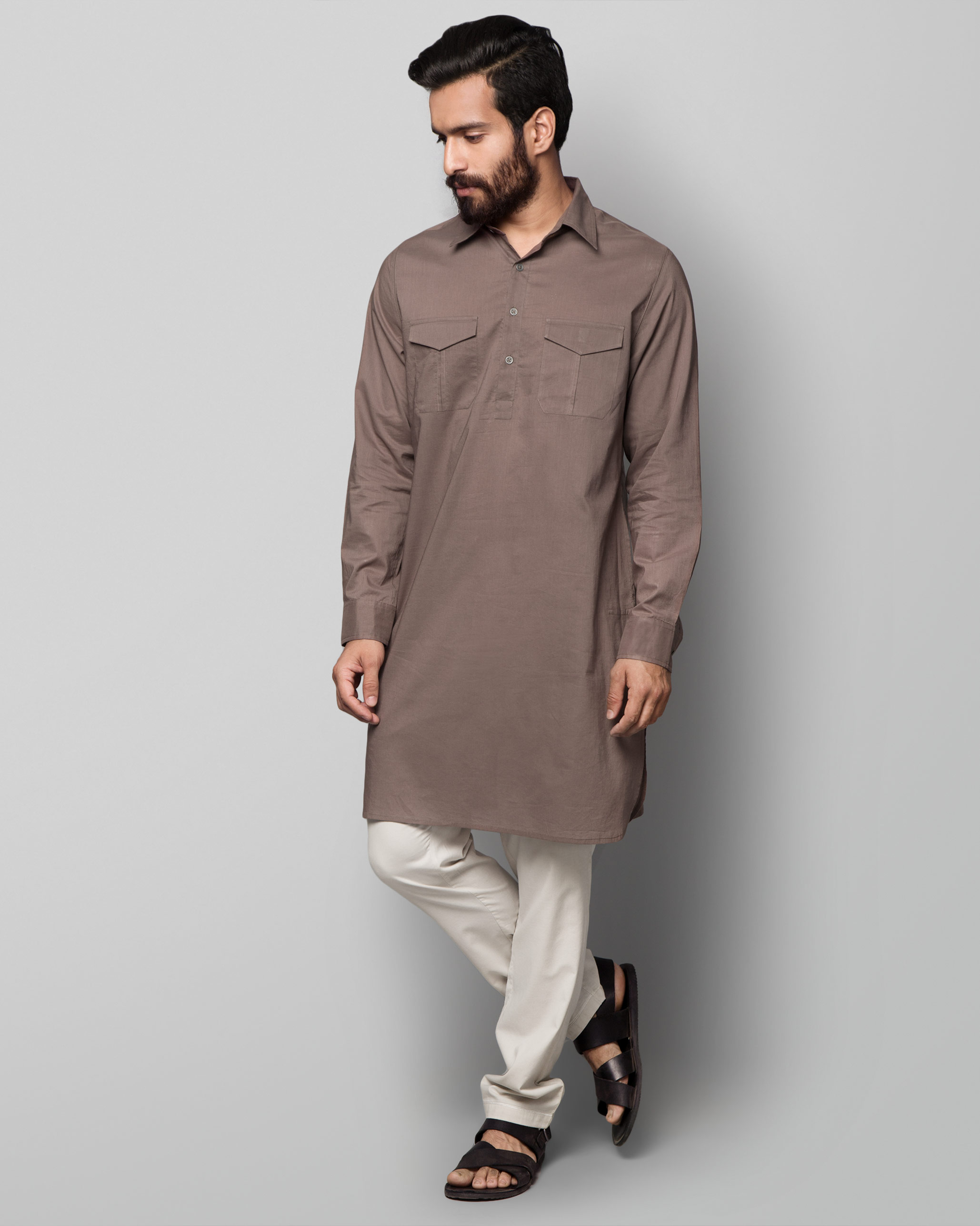 80e64fea55 Buy Nizamuddin Pathan Kurta - Brown: Kurtas & Jackets for Men Online |  Nicobar