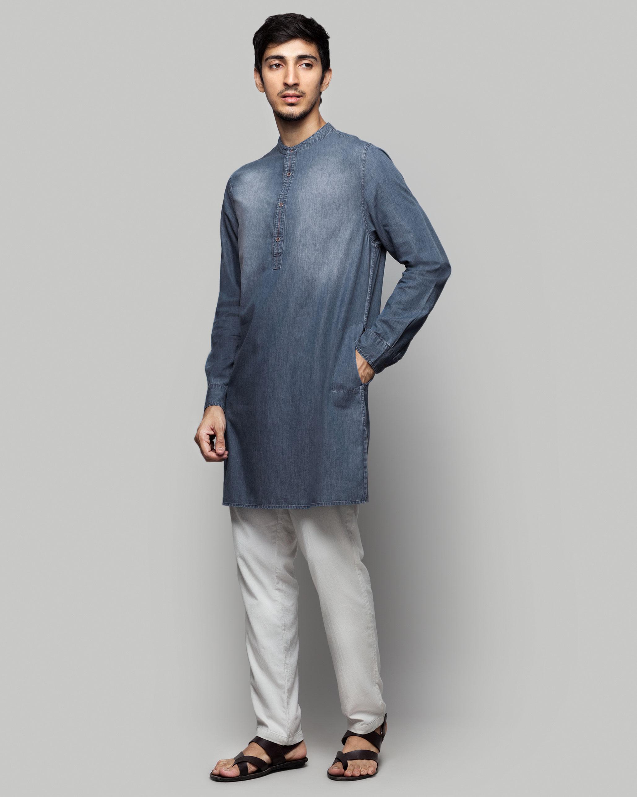 0f8ecf1e5b Chandni Chowk Denim Kurta from Men collection at Nicobar
