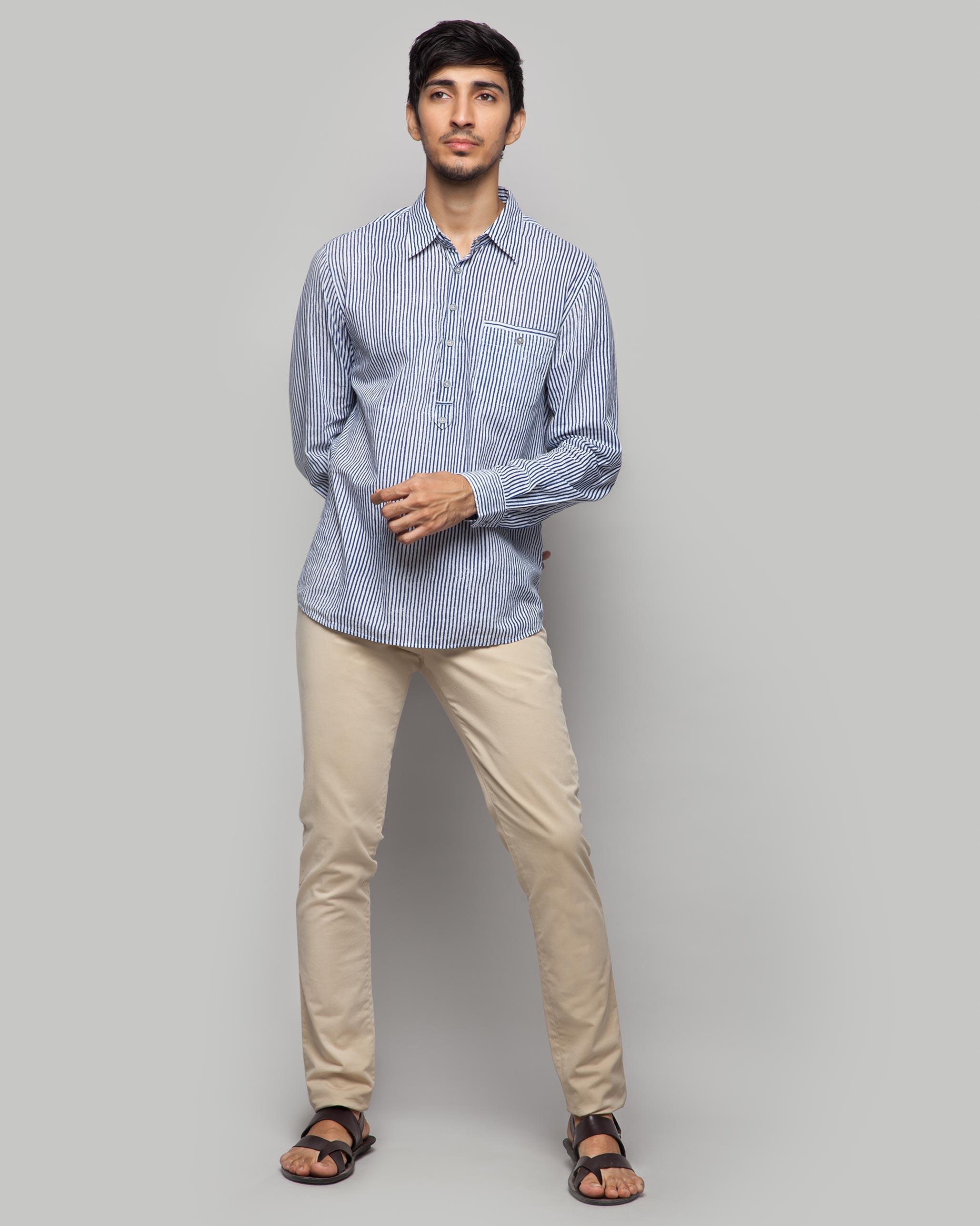 ae5f4e044f Buy Vagator Stripe Shirt - Blue & White: T-Shirts & Shirts for Men Online |  Nicobar
