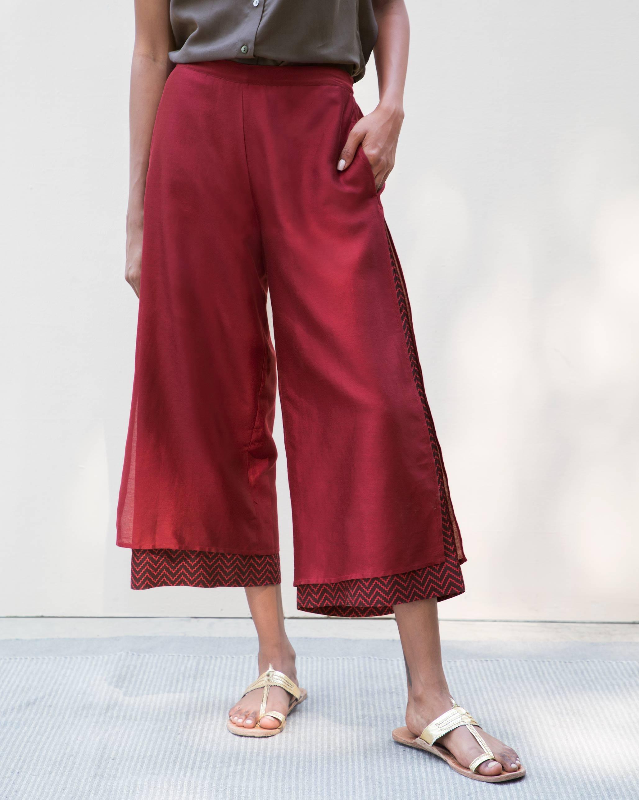 Buy Marshmallow Pants - Red Women Bottoms Online | Nicobar