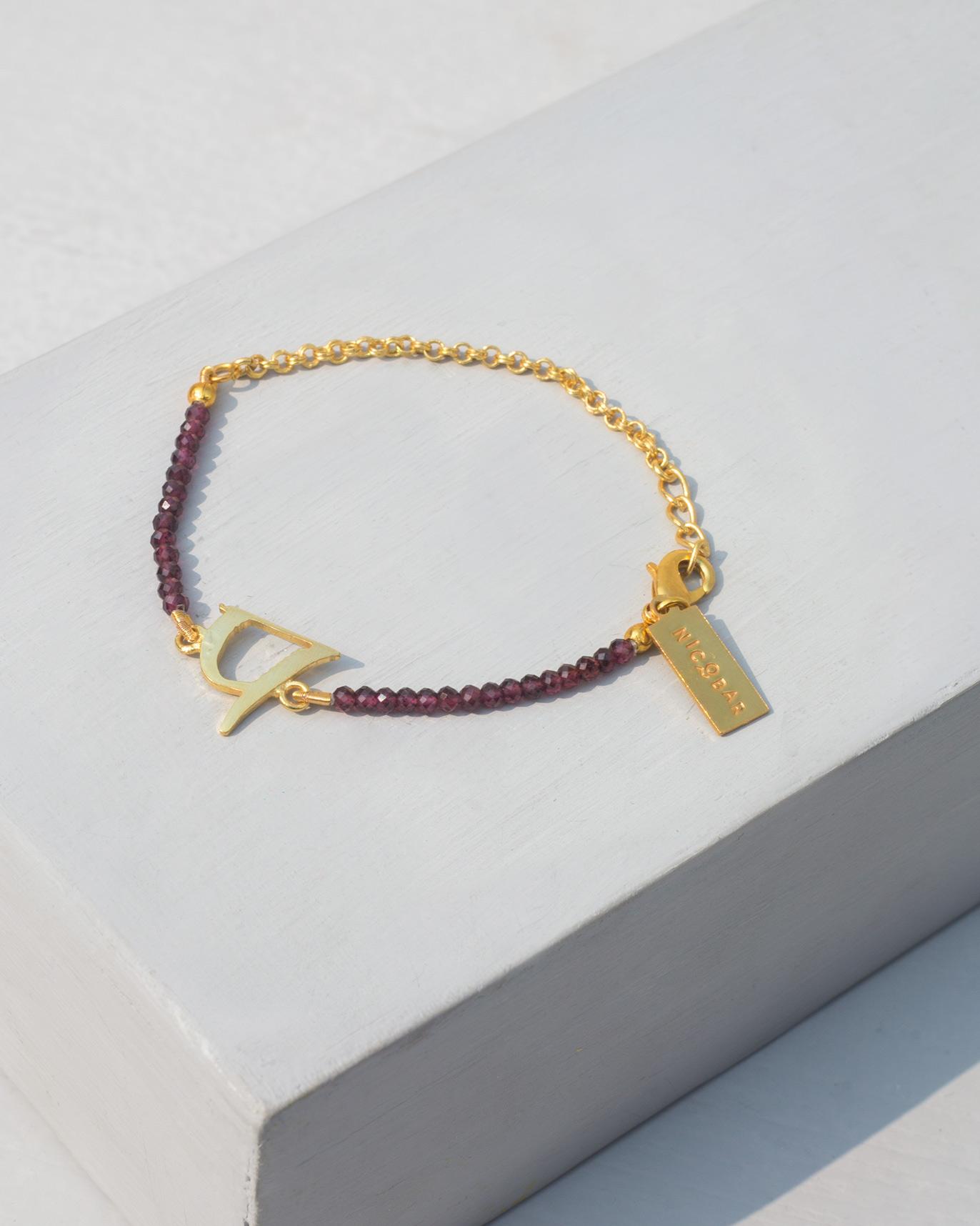 P Letter Images.Alphabet P Garnet Bracelet